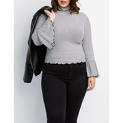 Plus Size Ribbed Lettuce Edge Mock Neck Top