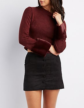 Faux Fur Sleeve Trim Crop Top