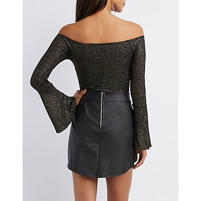 Off-The-Shoulder Bell Sleeve Bodysuit