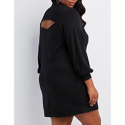 Plus Size Open-Back Sweatshirt Dress