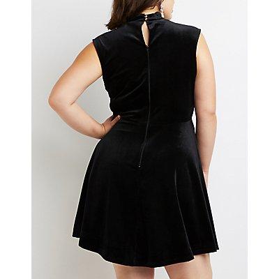 Plus Size Mesh & Crushed Velvet Skater Dress