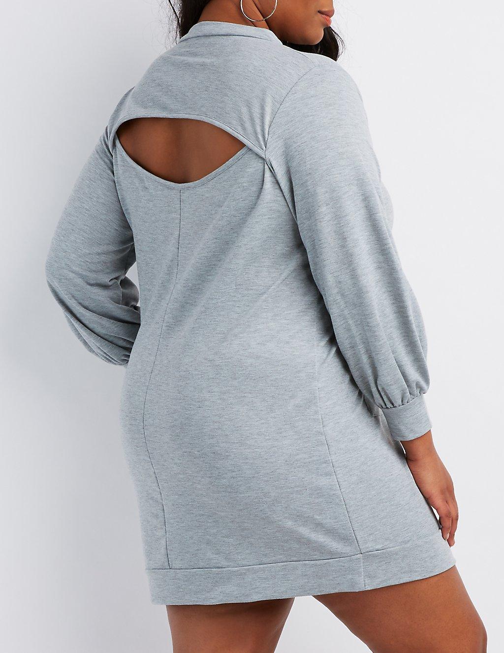 Plus Size Open-Back Sweatshirt Dress | Charlotte Russe