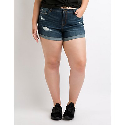 Plus Size Refuge Mid-Rise Girlfriend Denim Shorts