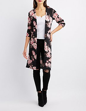 Floral Open-Front Duster Cardigan