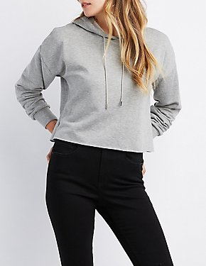 Metal-Trim Drawstring Cropped Hoodie