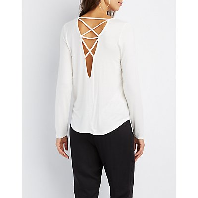 Caged Lattice-Back Top
