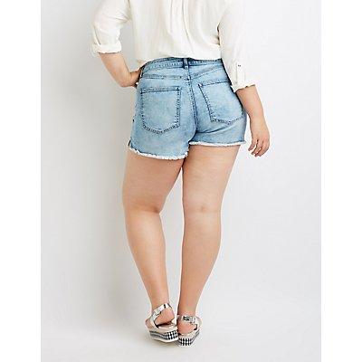 Plus Size Refuge Girlfriend Cut-Off Denim Shorts