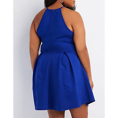 Plus Size Scalloped Bib Neck Skater Dress