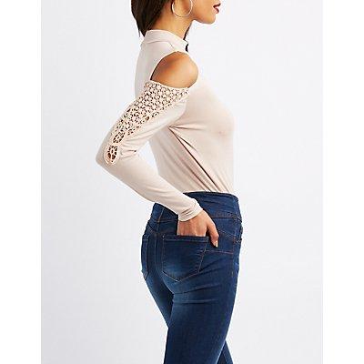 Crochet-Trim Cold Shoulder Bodysuit