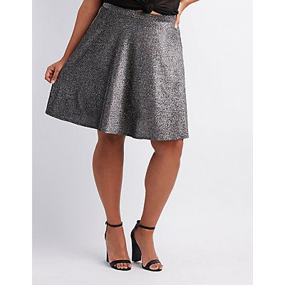 Plus Size Metallic Skater Skirt