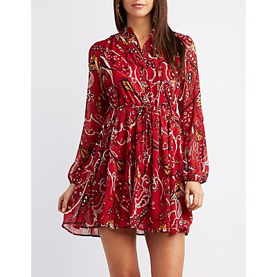 Floral Button-Up Swing Dress