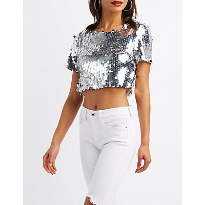 Sequins Crop Top
