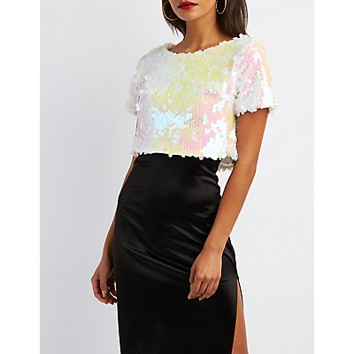 Holographic Sequins Crop Top