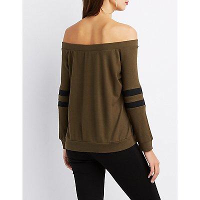Off-The-Shoulder Varsity Stripe Top