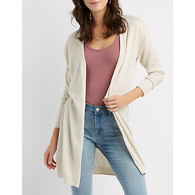 Lace-Up Back Open-Front Cardigan