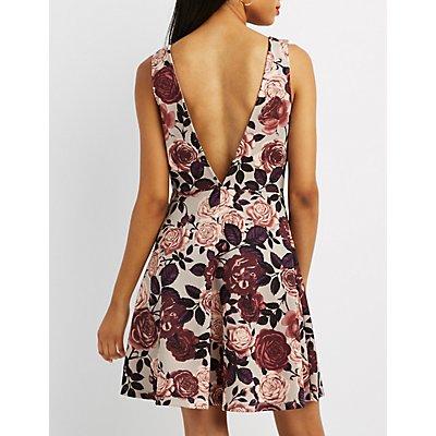 Floral V-Neck Skater Dress