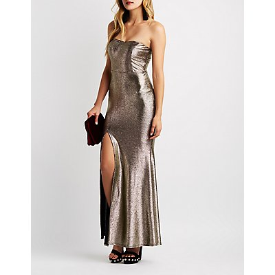 Metallic Mermaid Maxi Slit Dress