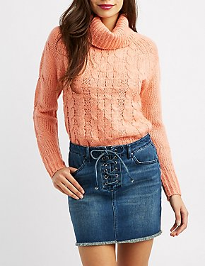 Cable Knit Cowl Neck Pullover