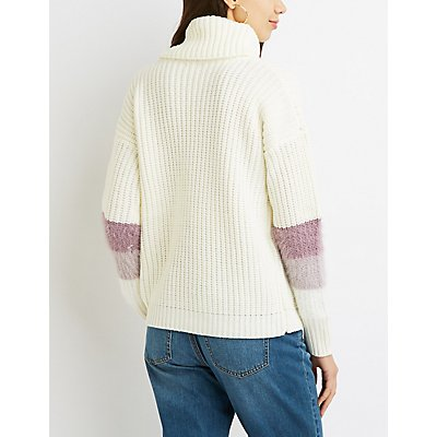 Striped Cowl Neck Sweater