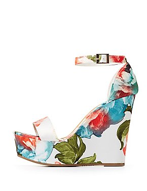 Bamboo Floral Ankle Strap Wedge Sandals