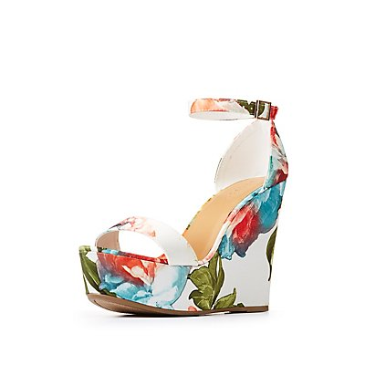 Bamboo Floral Ankle Strap Wedges