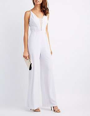 Lace-Trim Open-Back Jumpsuit