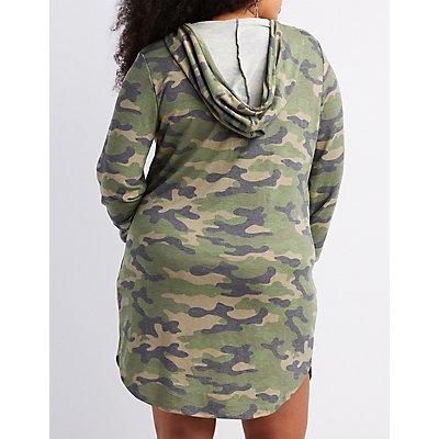 Plus Size Camo Print Hooded Sweatshirt Dress