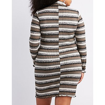 Plus Size Lettuce-Trim Ribbed Knit Mock Neck Dress