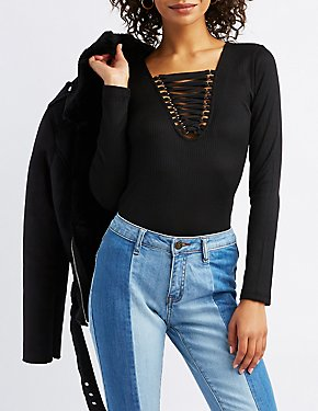 Lattice-Front Ribbed Knit Top