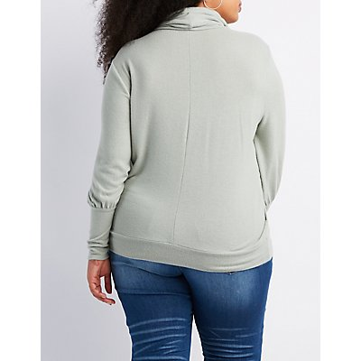 Plus Size Cowl Neck Pullover Top