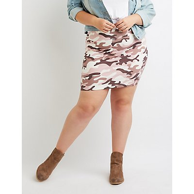 Plus Size Camo Bodycon Mini Skirt