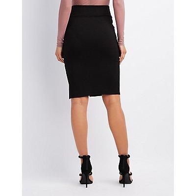Ponte Knit Bodycon Pencil Skirt