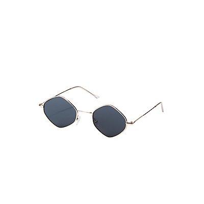 Small Metal Diamond Frame Sunglasses