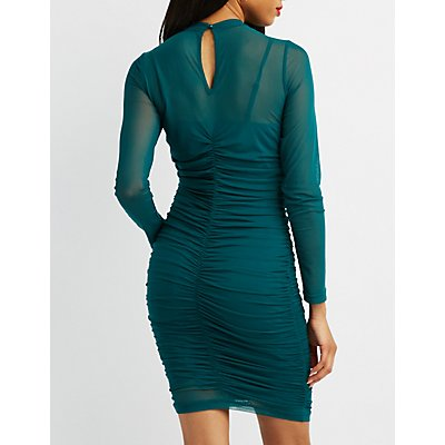 Mock Neck Ruched Mesh Bodycon Dress