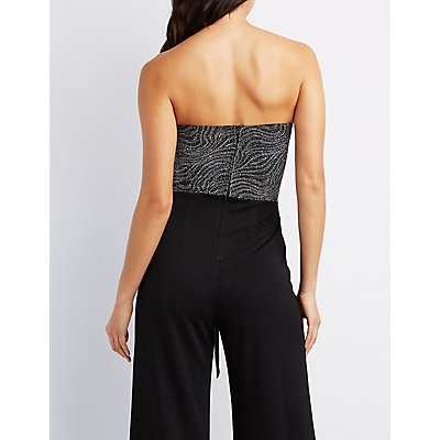 Glitter Strapless Wide-Leg Jumpsuit