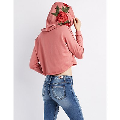 Floral Embroidered Cropped Hoodie