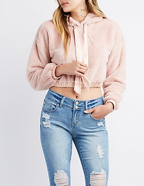 Satin-Trim Faux Fur Cropped Hoodie