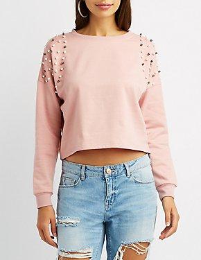 Embellished Cropped Sweater
