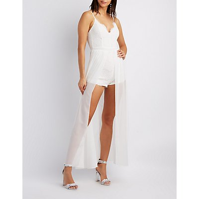 Lace-Trim Layered Maxi Romper