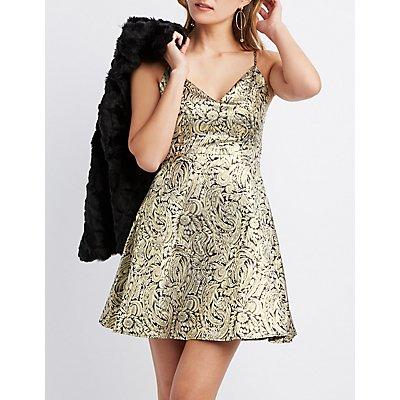Metallic Floral Sweetheart Neck Skater Dress