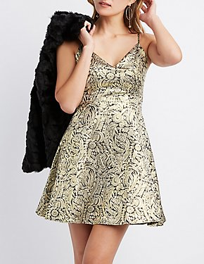 Metallic Floral Sweetheart Neck Skater Dress