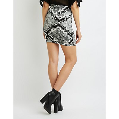Paisley Bodycon Mini Skirt