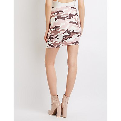 Camo Bodycon Mini Skirt