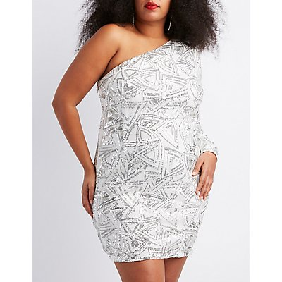 Plus Size Sequins One-Shoulder Bodycon Dress