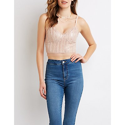 Glitter & Metallic Mesh Crop Top
