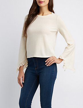 Ruffle-Trim Bell Sleeve Hacci Top