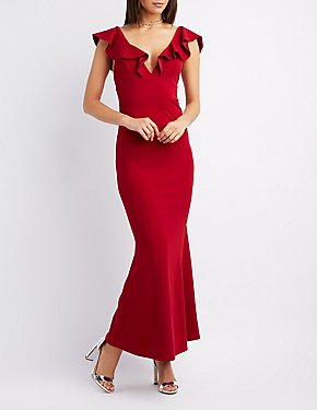 Ruffle-Trim Maxi Dress
