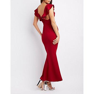 Ruffle-Trim Maxi Dress