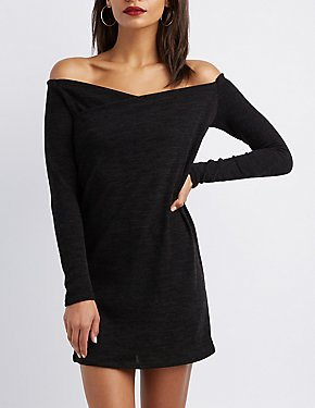 Knit Off-The-Shoulder Bodycon Dress
