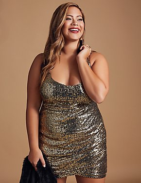 Plus Size Sequins Ruched Bodycon Dress